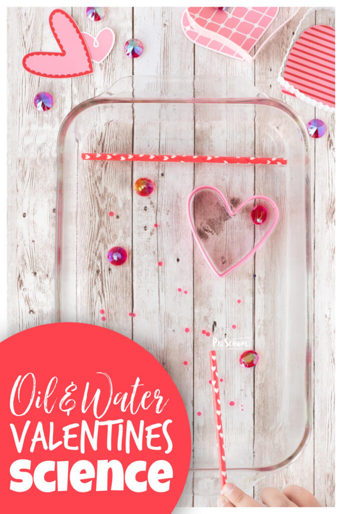 This funValentines Day Activity for Preschoolers is a great to demonstrate how oil and water don't mix. Thisvalentines day ideas for preschool are lots of fun for toddler, pre-k, kindergarten, and first grade students. Add this to yourValentines Day theme as an easy and FUNValentines Science that is perfect for February.