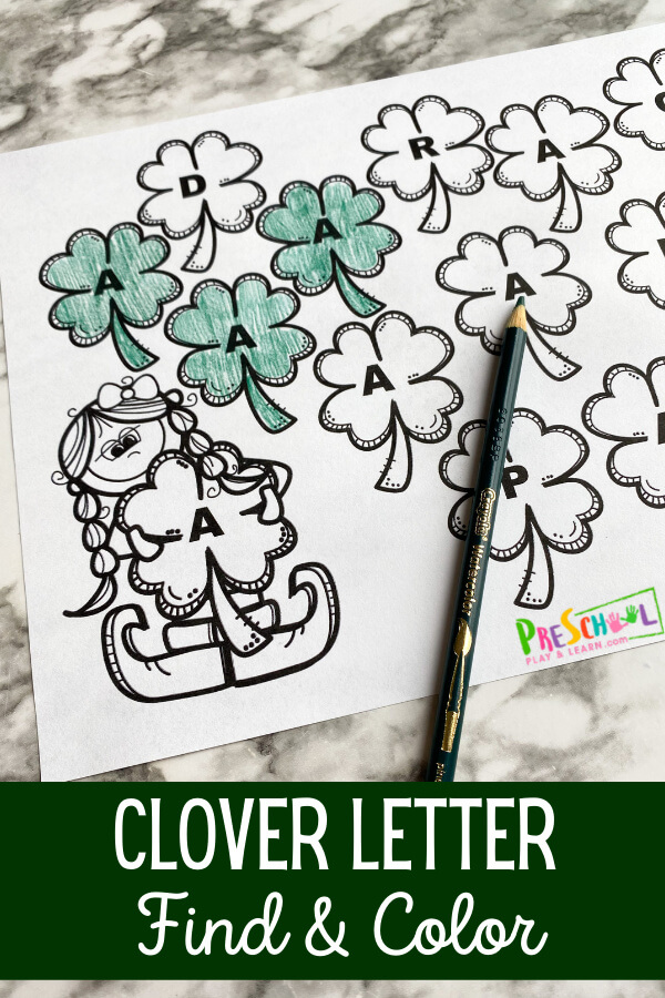 Grab this super cute St Patrick's Day Worksheets for kids to work on their ABCs with a fun St Patricks Day Preschool theme. Learning to recognize each letter is the first step for preschool, pre-k, and kindergarten age children in their journey of learning to read. It is critical for children to learn to recognize letters so they can then put that skill to use with other skills. Activities like this Clover Letter Find set help children focus on one letter at a  time to really hone in on their letter recognition skills. Simply download pdf file with st patrick's day printables free and you are ready to play and learn!
