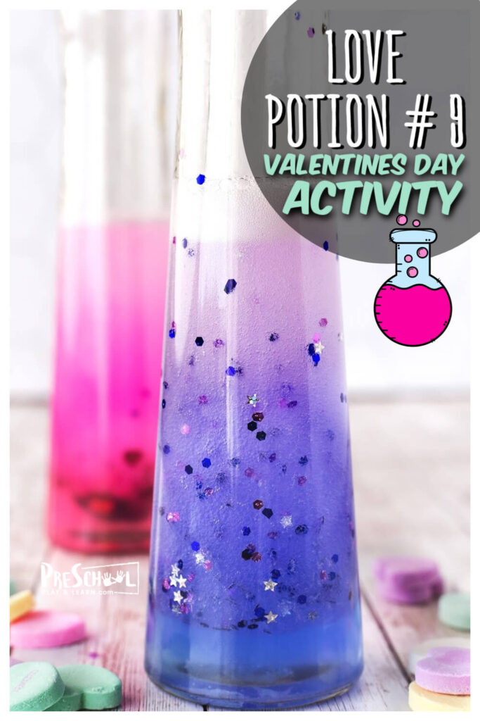 Make science come alive for kids with thisValentine's Day Scienceproject for toddler, preschool, pre-k, kindergarten, first grade, and 2nd grade students. Children will make a love potion number 9 in thisvalentines day activities.Thisscience valentines is like a diy lava lamp for February so get ready to concoct a bubbling and active brew.