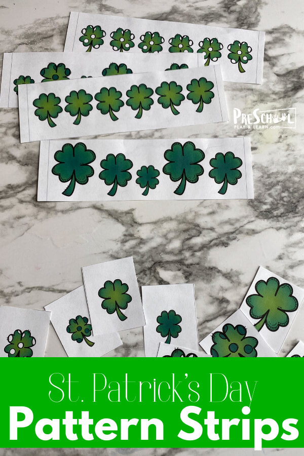 Are you looking for a simple, yet effective, way to help your preschool, pre-k, or kindergarten age student learn and practice patterns? These Clover pattern strips are a free st patrick's day printables that is incredibly easy to prep and will be fun for kids to practice with. Use this funSt Patrick's day Math as a fun addition to yourSt Patricks Day Preschool.Simply download pdf file withSt patrick's day activities for preschoolers and you are ready to play and learn this March!