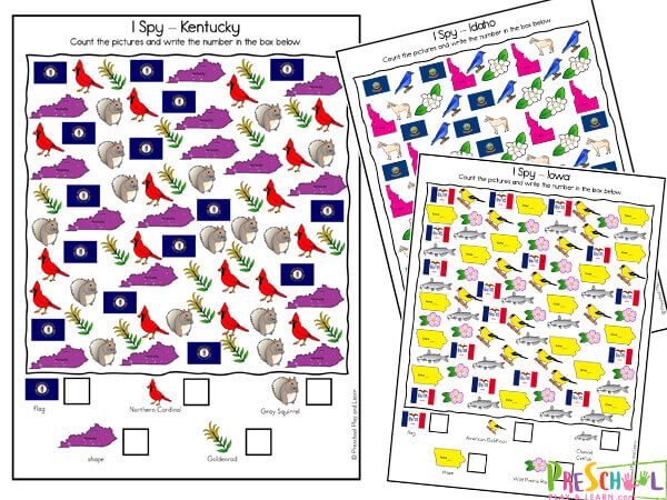 i spy printable on kentucky, idaho and iowa with state shape, state flag, state bird, and more icons from states to find and count
