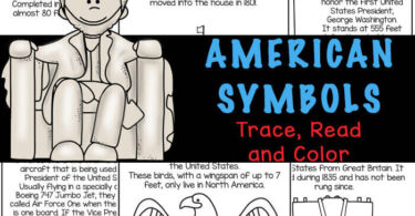Introduce patriotic symbols to toddler, preschool, pre-k, and kindergarten, first grade, 2nd grade, and 3rd grade students will love this fun and free, American Symbols for Kids reader. This Activity helps kids strengthen fine motor skills and literacy skills as they trace, read and color the pages about the eagle, Air Force One, Jefferson Memorial, Liberty Bell, Lincoln Memorial, Lincoln Statue, Washington Monument, Mt Rushmore, Statue of Liberty, American flag, White House,  and the WWI Memorial in Washington DC. Simply download pdf file with American Symbols Worksheets and you are ready for a us history for kids, 4th of july theme, Presidents Day theme, and memorial theme printable.