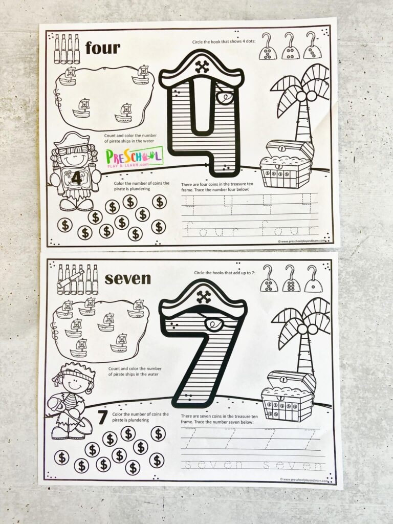 super cute, free printable pirate worksheets to help preschool and kindergarten age children learn numbers 1-10, counting, tracing number, number recognition, number sense, and more!