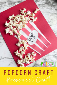 Popcorn is not only fun to eat, but makes a fun, inexpensive material to make cutecrafts for kids. This adorablepopcorn craft is not only fun to make, but perfect for celebrating National Popcorn Day on January 19th. So pop a bown of popcorn, make this cutepreschool popcorn craft, and then watch a movie while you eat the leftover supplies. This is a funcraft for preshool, toddler, kindergarten, pre-k, and first grade students.