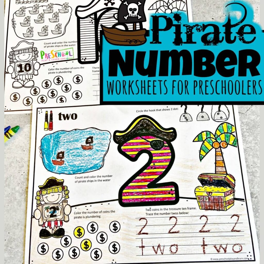 Make practicing counting, tracing numbers 1-10, and learning number words fun with these super cute, Piratenumber worksheets for preschoolers. Thesepirate worksheets allow toddler, preschool, pre-k, and kindergarten age students to learn their numbers, number sense, and practice counting to 10 while having fun. These free printable pre k worksheets are so cute kids are going to be excited to learn! Simply download pdf file with number tracing worksheets and you are ready to start playing and learning with this cute, free printable pirate themesprintables.