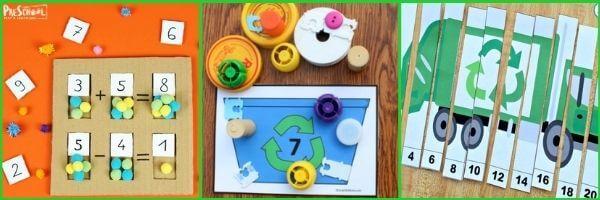 recycling preschool math activity