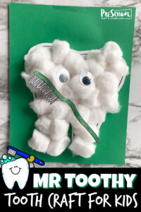 Learn about your teeth for Dental Health Month in February with these super cute and easy-to-make Tooth craft. Thisdental craft is made of cotton balls and a few extradental printables to make this Mr. Toothy Cotton Ball Craft. My kids loved making it and your toddler, preschool, pre-k, kindergarten, and first grader will too!