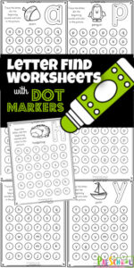 Kids will have fun practicing finding the lowercase alphabet letters with these letter find worksheets . This pack offind the letter worksheet pages require no prep and are a great way to work on visual discrimination. Plus this abc printable uses bingo markers which makes it extra fun for kids! We just love do a dot printables to keep preschool, pre-k, and kindergarten age kids engaged and eater to practice letter recognition. Simply print pdf file withfind the letter worksheet pages and you are ready to go!