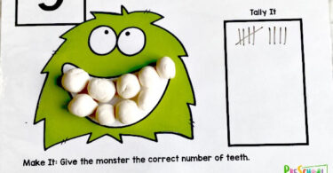 Monster Teeth Counting Playdough Mats - Dental Activity