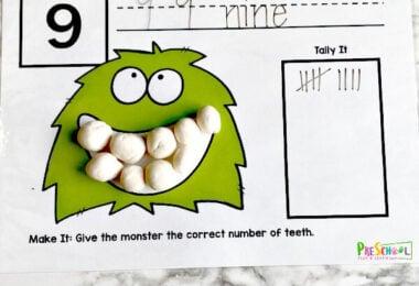 Monster Teeth Counting Playdough Mats - Dental Activity