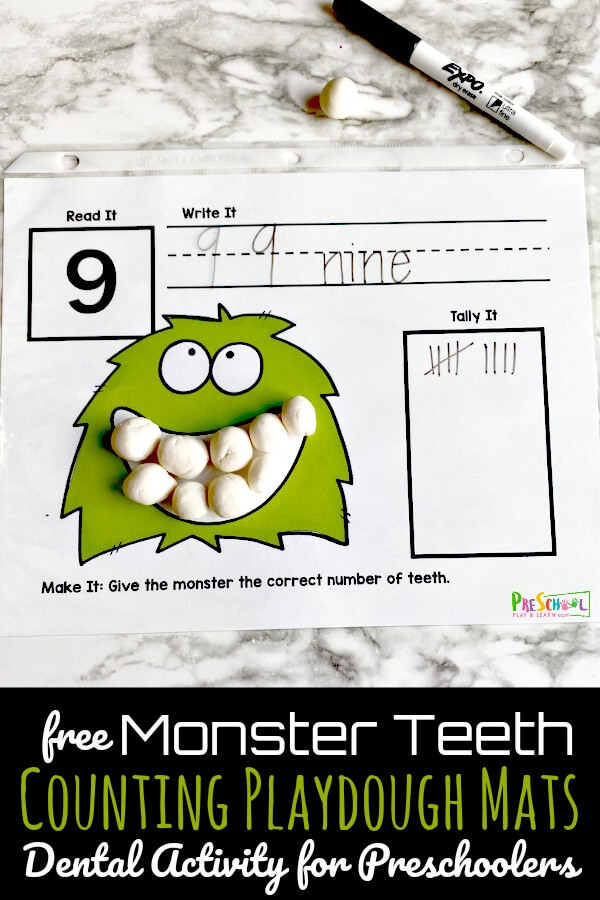 This super cute, free printable Monster Teeth Counting Mat will not only help teach children about dental health but will help them with number sense as well, all while having a blast. Using play doh, toddler, preschool, pre-k, and kindergarten age children can make playdough tooth to count on theplaydough mats. This is such a funcounting activity for preschoolersduring February as part of a dental theme, dentist theme, or tooth fairy theme too. Simply download pdf file withfree counting playdough mats and you are ready to play and learn.