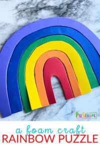 Celebrate the arrival of spring with a fun rainbow activity for preschoolers! For this rainbow arts and craft idea you will be making a puzzle of sort for your toddler, preschool, pre-k, and kindergarten age child to make. THey will have to use problem solving skills to put the rainbow activity for kids together. This is such a fun spring activity for kids!