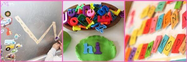 Preschool Magnets Literacy activities