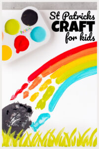 Are you ready for St Patricks Day?  This March holiday can sometimes sneak up on us, but it is a fun time to make cute leprechaun, shamrock, and rainbow crafts and activities! This adorable St Patricks Day Handprint Craft is such a fun art project to try! This St Patrick's Day arts and crafts is perfect for toddler, preschool, pre-k, kindegarten, and first grade kids. I love project that use children's precious hands and this St Patricks Day art makes a precious keepsake you will treasure for years!