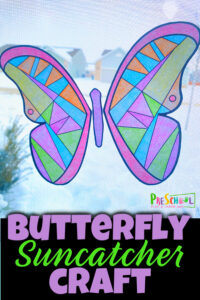 Celebrate the arrival of spring with a pretty butterfly craft! This cheery butterfly suncatcher is super simple to make with our butterfly printable and makes a lovely decoration to brighten your window.  This sunctacher craft for preschoolers is such a fun spring craft for toddler, preschool, pre-k, kindergarten, and first grade students that requires no prep and no special materials! Simply download pdf file with butterfly coloring page and you are ready to make a beautiful butterfly craft for preschoolers.