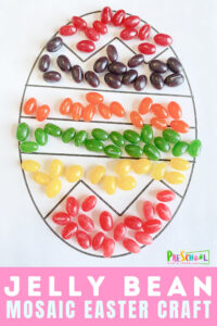 Fun Jelly bean craft mosaic combines Easter color by number with jelly bean activity! This yummy easter activity is perfect for preschoolers.
