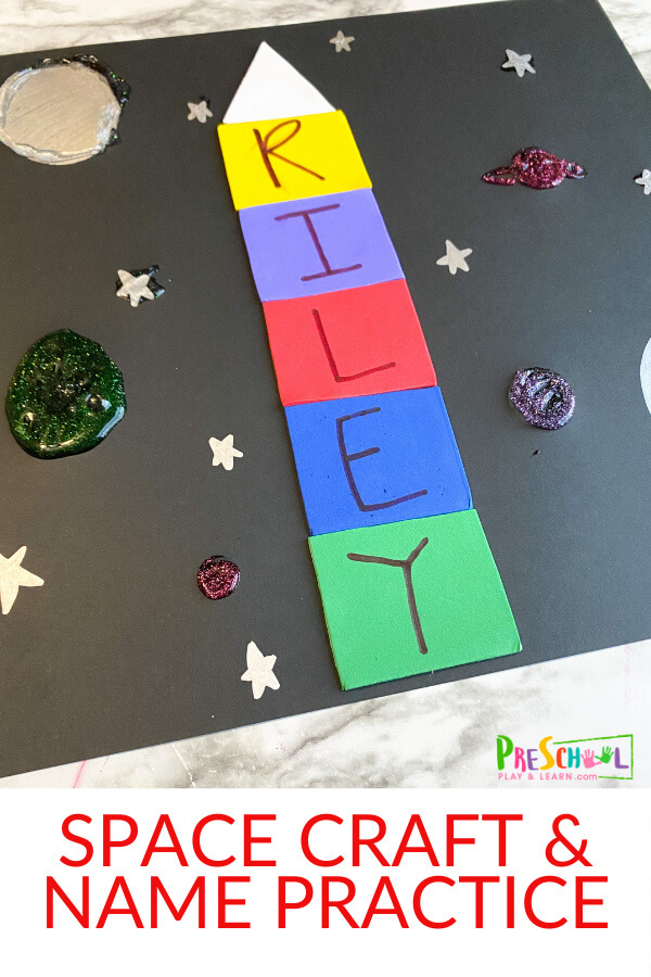This name rocket craft is a fun space craft for preschoolers. This name craft for preschoolers is perfect for a space theme, or solar system for kids lesson. Thisname activities for kindergarten, preschool, and pre-k can help them learn how to spell their names while having out of this world fun!