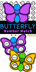 Toddler, preschool, prek, and kindergarten age kids will love this fun, and free Butterfly Number Match Activity. Kids will have fun strengthening counting skills and fine motor skills with the butterfly activity for preschoolers. This number sense activity focuses on the value and representation of numbers 1 to 10. Simply download pdf file with butterfly printable and you are ready to play and learn with thispreschool butterfly activities.