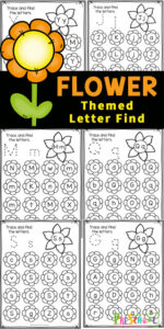 Kids will have fun practicing letter recognition with these pretty flower worksheets. These letter find worksheets are a fun way for preschool, pre-k, and kindergarten age children to practice recognizing uppercase and lowercase alphabet letters. The preschool flower worksheets are NO PREP and perfect for a flower theme or spring theme at home or in the classroom. Simply print pdf file with spring worksheets for preschoolers and you are ready to play and learn with this dot marker printables.
