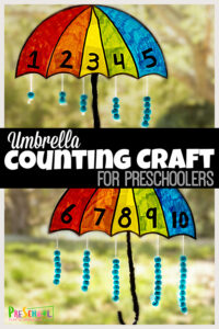 Spring is the perfect time to make cute counting crafts for preschoolers!Thisumbrella craft helps preschool, pre-k, and kindergarten age children practice counting while making and adorable umbrella craft. Use number crafts for preschoolers in yourspring theme to make practicing numbers 1-10 fun and engaging.
