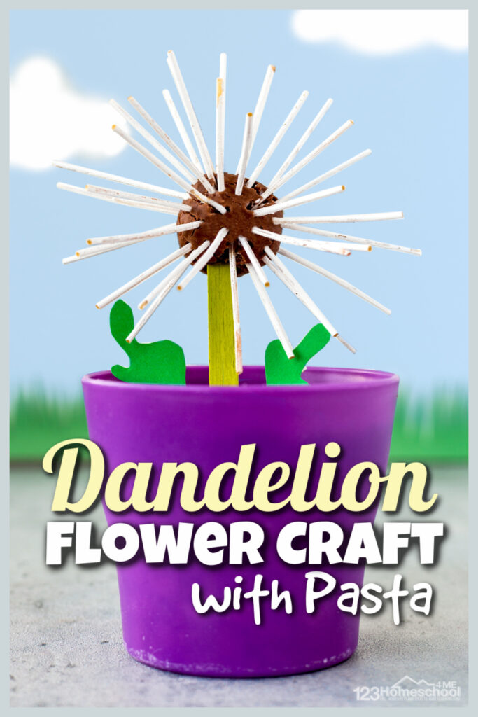 cutedandelion craft is a fun way for kids to recreate a favorite summer icon while creating a uniqueflower craft. Thisflower activity allows toddler preschool, pre-k, and kindergarten age children to use hand muscles to create a beautifulpasta craft.