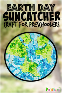 Create a cheerfulearth day suncatcher with this fun, simpleearth day craft for preschoolers! All you need are a few simple materials including our free earth template and tissue paper to make this prettyearth craft preschool, toddler, pre-k, kindergarten, and first graders too. Make this Earth day projects for preschoolersto celebrate Earth Day on April 22nd.