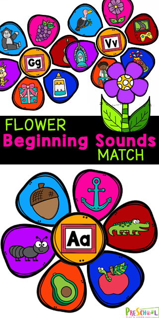 This super cute, free printable flower activity for preschoolers is a great way for preschool, pre-k, and kindergarten age students to practice their alphabet letters and the sounds they make. In thisBeginning Sounds Activity, kids will sort the flower petals onto the correct flowers based on the beginning sound of the image on the petal. This initial sounds game is lots of fun and great practice too. Simply print pdf file with beginning sounds games and you are ready to improve literacy skills while completing this fun activity.
