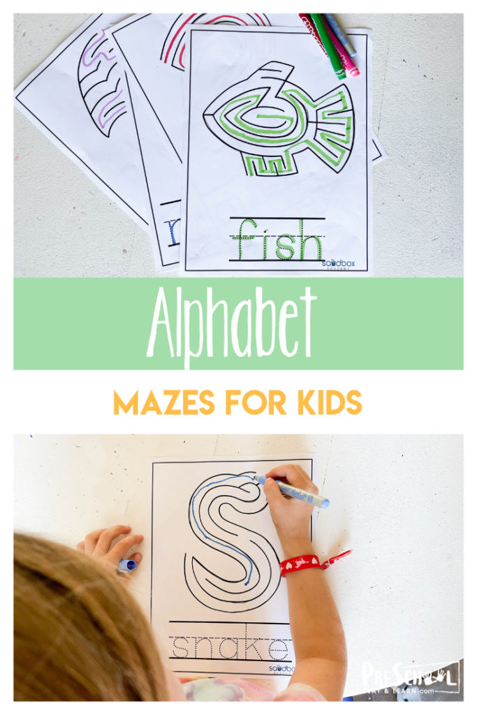 These super cuteprintable mazes for preschoolersare a fun way for kids to improve fine motor skills while working on letters too. There areletter mazesfor each letter A to Z. Use these printable mazes for 4 year olds as part of a letter of the week program or when your child is looking for a little extra seat work. Use theseprintable mazes for 5 year olds with toddler, preschool, pre-k, and kindergarten age children. Simply download pdf file withalphabet maze worksheetand crayons or markers to work on learning ABCs while having fun.