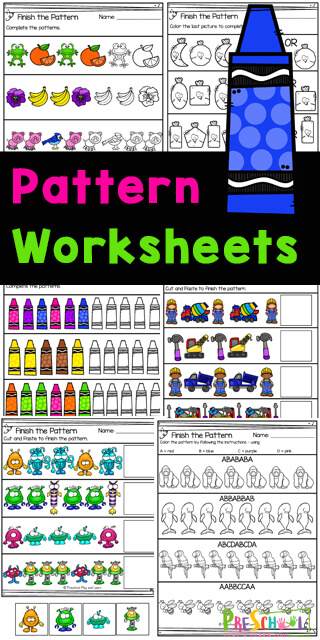 Help your toddler, preschool, pre-k, and kindergarten age child practice patterns with these super cute,pattern worksheets.These no prep pre-k pattern worksheets make it quick and easy for children to work on completing patterns. Simply download pdf filewith pattern worksheets for preschoolers and have fun learning about patterns while working on their colors, shapes and fine motor skills.