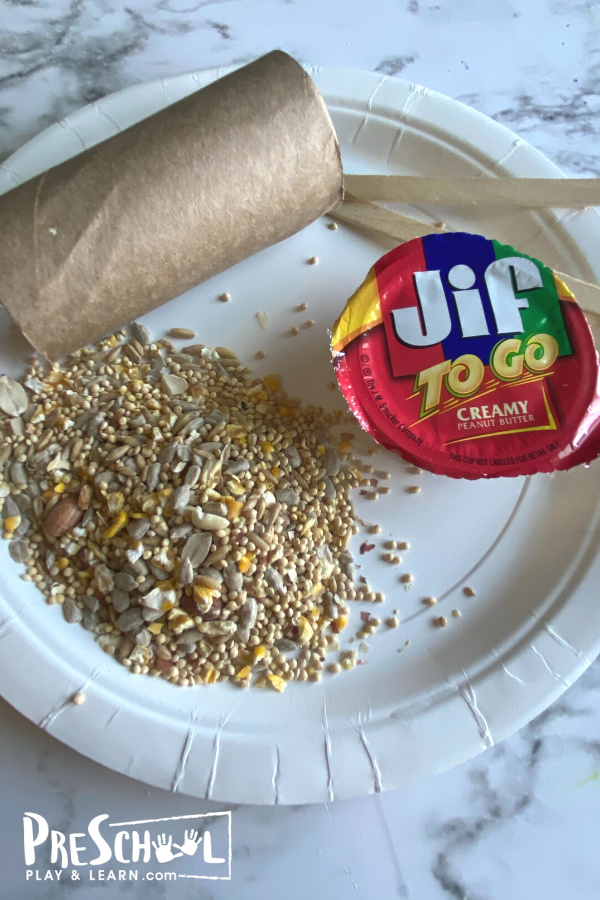 All you need to make this homemade bird feeders peanut butter are a few simple materials you probabaly alreayd have on hand: Toilet Paper Roll or cardboard tube (empty) Peanut Butter Bird Seed Scissors Something to hang (yarn or pipe cleaners) Popsicle Sticks Hole Punch