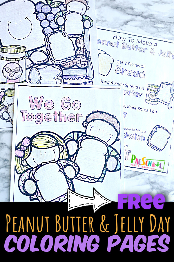 Celebrate peanut butter and jelly day on April 2nd with these super cute peanut butter and jelly coloring pages. These simbple coloring sheets for national pb&j day are a great way to celebrate this classic lunch with toddler, preschool, pre-k, and kindergarten age kids.