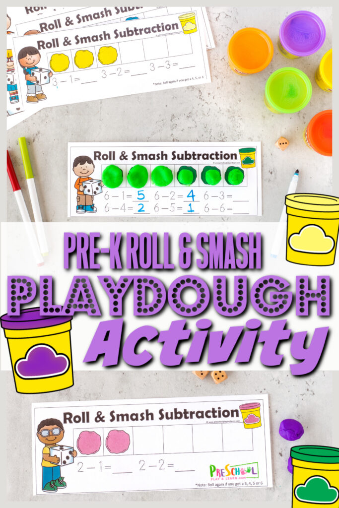 Preschoolers will be excited to work onpre-k math game that uses play dough! Thisplaydough activity for preschoolers uses a funsubtraction activity with a fun, hands-on smash for learning how to subtract numbers from 10. Thispre-k math activityis not only fun for preschool, but kindergarten age students too. Simply print pdf file withplaydough mat and you are ready for a funsubtraction game.