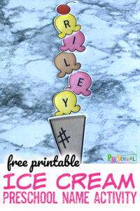 This Ice Cream Craft can help them learn how to spell their names while having fun with a preschool name activity! This kindergarten, toddler, andpreschool name ideas is such a playful way to practice name recognition! We love usingname games for preschoolers andname crafts for preschool to make this important skill FUN!