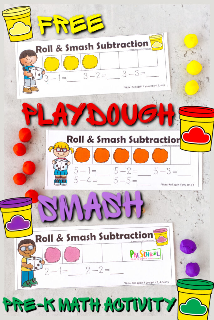 Outrageously FUNpre-k math activity to practice subtraction within 10 with Playdough Smash Game!FREE playdoh activity!