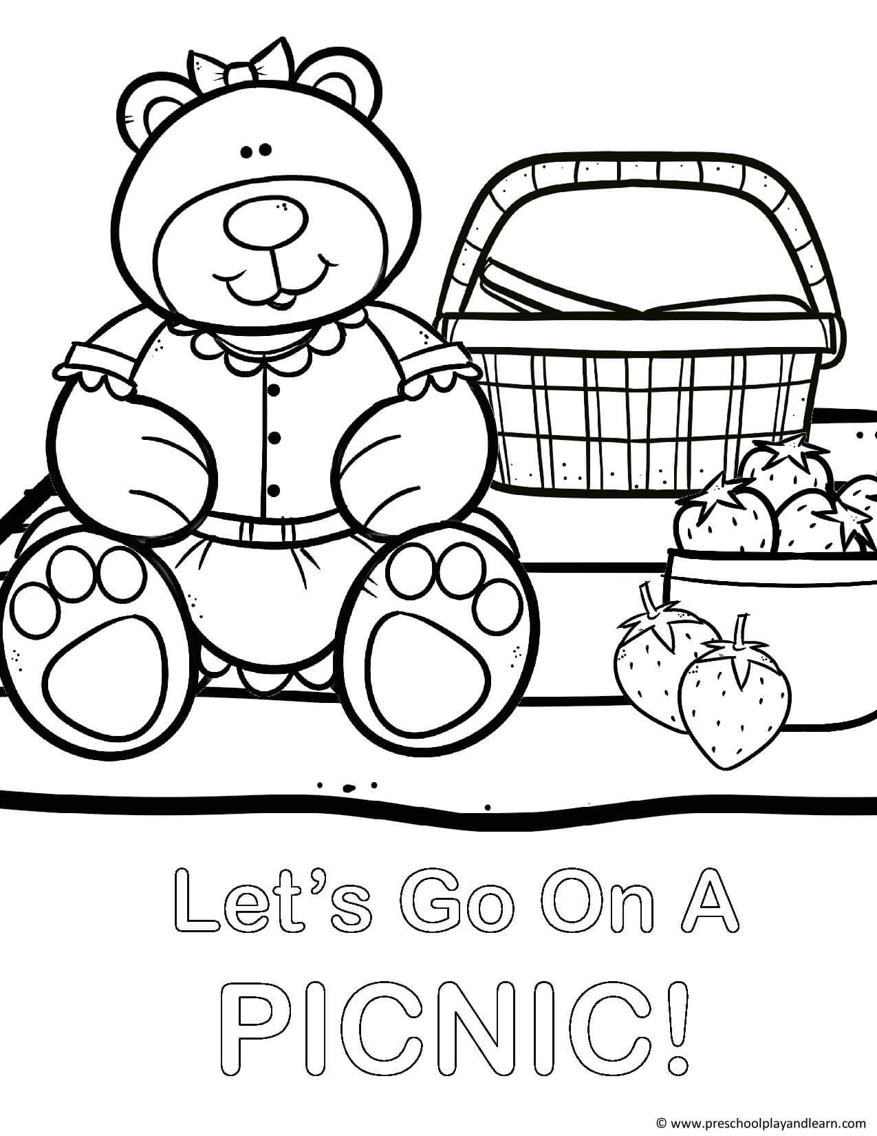 Teddy bear colouring images
