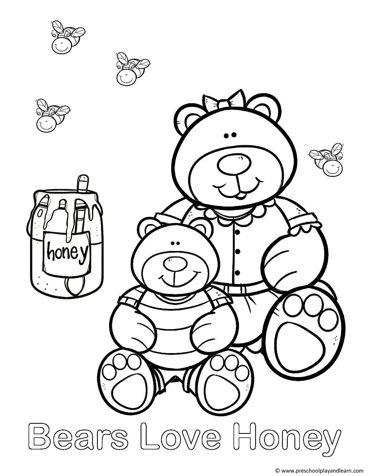 Teddy bear colouring pictures