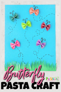 Spring is here and that means that the butterflies have returned to delight both young and old with their graceful flight and beautiful wings. Celebrate these beautiful animlas with a funbutterfly craft for kids. This simplebutterfly art project uses bowtie pasta to make the butterflies. Thispasta craft for preschoolers, toddlers, and kindergartners is sure to be a hit!