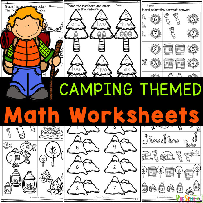 FREE Camping Math Worksheets For Preschoolers