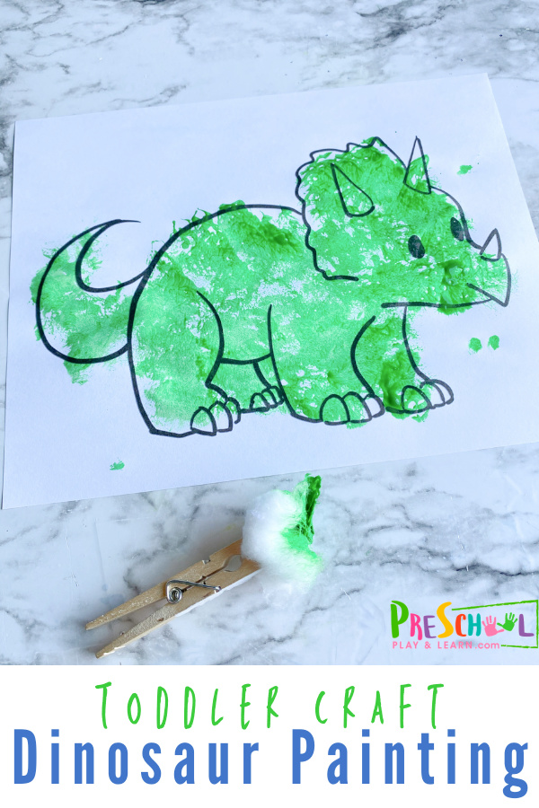 Dinosaur painting craft and activity for toddler and preschool kids with a unique painting technique. Downloaddinosaur templates!
