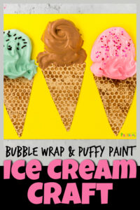 Nothing says summer like a scoop of delicious, refreshing ice cream! So today we are going to make a super cuteice cream craft that looks almost good enough to eat. You will love that thissummer craft includes two kid-favorite techniques in thisice cream craft for preschoolers! Start by making abubble wrap print to make the cone. Then whip up a batch of ourpuffy paint ice cream to personalize with your favorite flavor of icecream! Thispuffy paint craftis perfect for toddler, preschool, pre-k, kindergarten, first grade, and 2nd graders too!