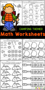 Just because its summer doesn't mean you can't sneak in some fun preschool math! These super cute math worksheets for preschoolers have a fun camping theme that will get preschool and pre-k students excited about practicing shapes, color words, counting, adidng, and more! Simply download pdf file with camping worksheets and you are ready to play and learn this summer with pre-k math worksheets.