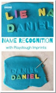 playdough name recognition activity