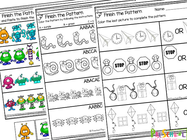pattern worksheet for preschool
