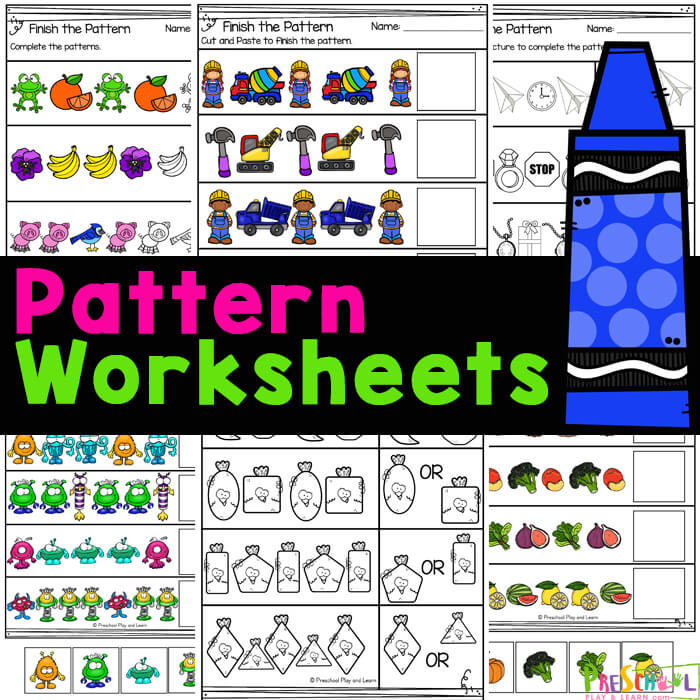 Practice patterns for kids with these super cute,pattern worksheets.These no prep pre-k pattern worksheets are quick and EASY!