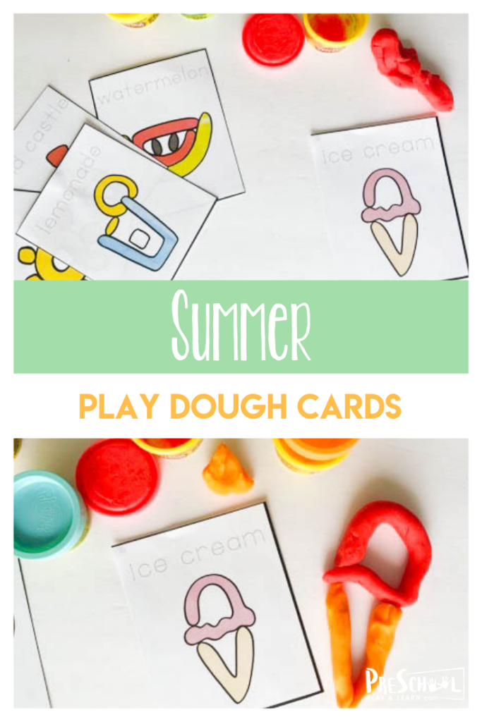 Play dough mats are a must have summer activity for preschool. These summer playdough mats are exactly what you are looking for. Roll into summer with a fresh play dough activity that encourages your kids to practice writing and play. Simply downloadsummer printables pdf file and you are ready to play, learn, and strengthen hand muscles with toddler, preschoool, pre-k, kindergarten, and first grade students.