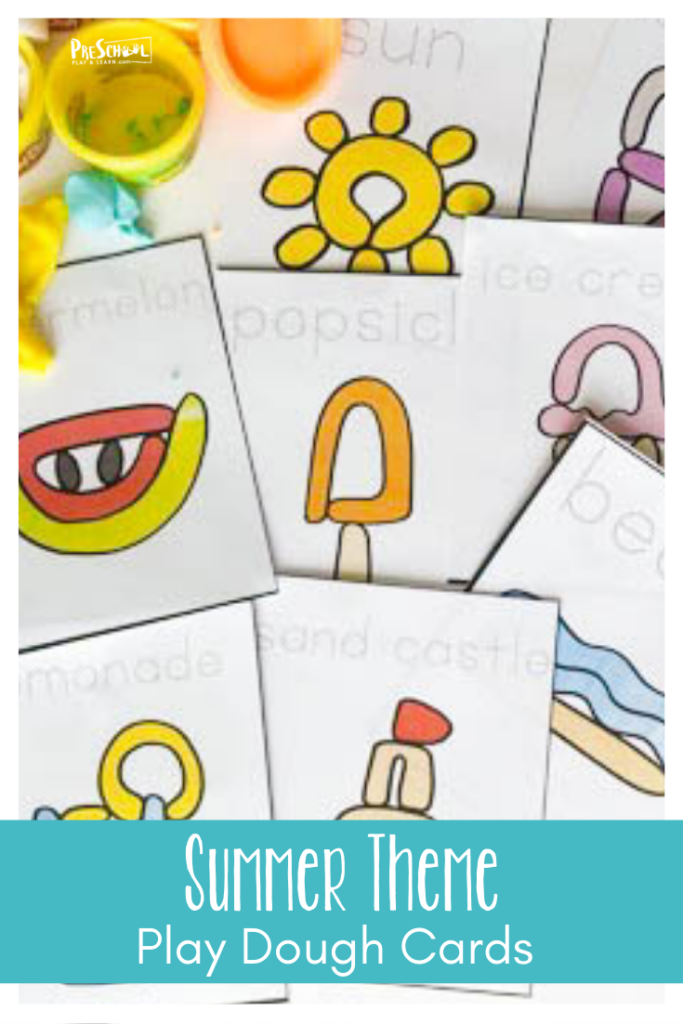 Cute summer playdough mats encourages kids to strengthen hand muslces while they play. Downloadprintable summer activity for preschoolers!