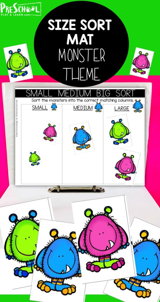 Young children will have fun with these big and small sorting activitiesthat use super cutemonster printables! Thissize sorting activityis a great way to work on visual discrimination and sequencing with toddler, preschool, pre-k, kindergarten, and first grade students. Simply download pdf file and start arranging bysmall, smaller, smallest.