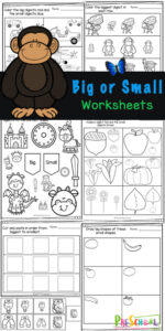 Help young children work on visual discriination with these Big and Small Worksheets. These handy, NO PREP, big or small worksheets are great for strengthening math and fine motor skills for young children while helping them learn about different sizes. Use theseBig Small Worksheets with toddler, preschool, pre-k, kindergarten, and first graders. Simply download pdf file withsmall, smaller, smallest worksheets and you are ready to practice withfree math worksheets!