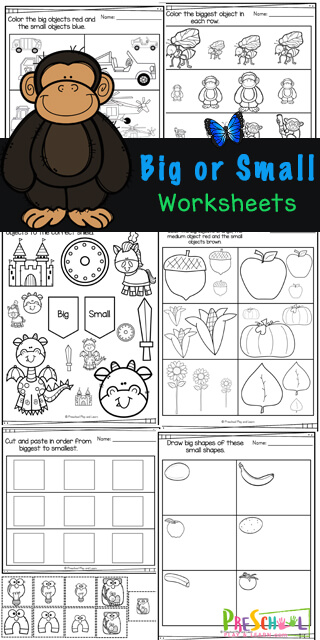 Help young children work on visual discriination with these Big and Small Worksheets. These handy, NO PREP, big or small worksheets are great for strengthening math and fine motor skills for young children while helping them learn about different sizes. Use theseBig Small Worksheets with toddler, preschool, pre-k, kindergarten, and first graders. Simply print pdf file with small, smaller, smallest worksheets and you are ready to practice withfree math worksheets!