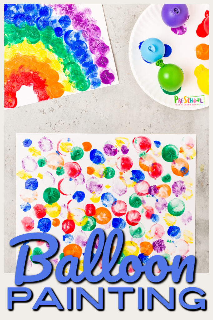 This super simple and funballoon paintingproject is perfect for toddler, preschool, pre-k, and kindergarten age children as a funsummer activity for kids! In thisballoon activities for preschoolers,children will create a fun, open-ended craft while they paint in an outrageously FUN way -balloon paint art!